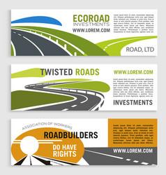 Highway road or motorway banners set vector