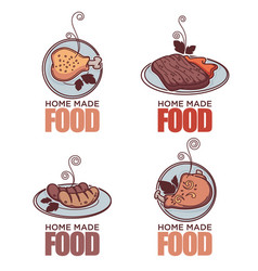Home made food doodle meat linear doodle logo vector