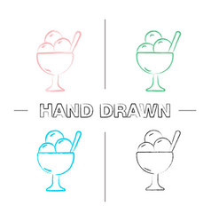 ice cream in bowl hand drawn icons set vector image