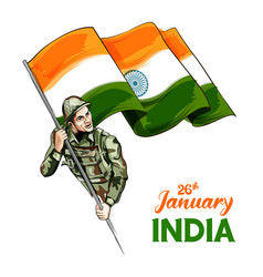 indian army soldier nation hero on pride vector image