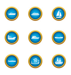 Jetliner icons set flat style vector