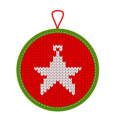Knitted christmas decoration star five vector