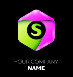 Letter s logo symbol in colorful hexagonal vector