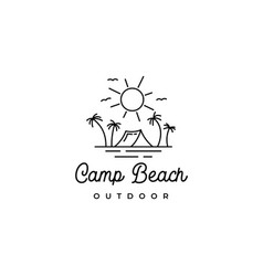 line art summer beach camping recreation logo vector image