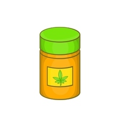 Medical marijua bottle icon cartoon style vector image