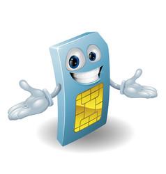 mobile phone sim card mascot vector image