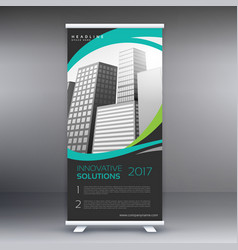 modern roll up stand banner with wavy lines and vector image