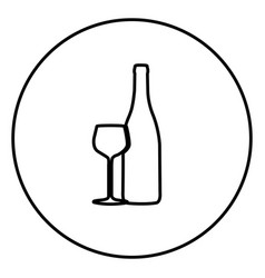 monochrome contour circular frame with bottle and vector image