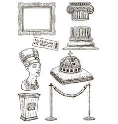 Museum icon set ink hand drawn vector