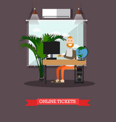 online flight booking in flat vector image