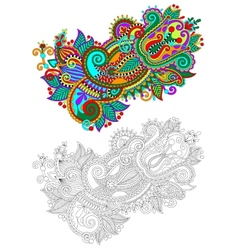 original hand draw line art ornate flower design vector image