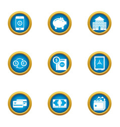 paid service icons set flat style vector image