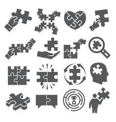 puzzle icons set on white background vector image