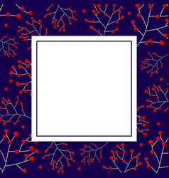 Red berry christmas on navy blue banner card vector