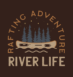 River life logo design rafting adventure badge vector