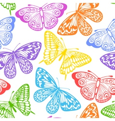 seamless background of butterflies multi colored vector image