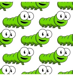 Seamless pattern of cartoon green caterpillars vector
