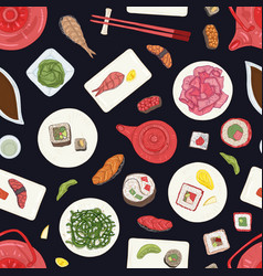 Seamless pattern with sushi sashimi and rolls vector