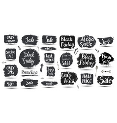 set hand drawn grunge sale banners vector image