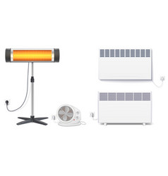 set icons of heaters household appliances on a vector image