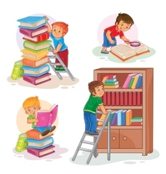 Set icons of small children reading a book vector
