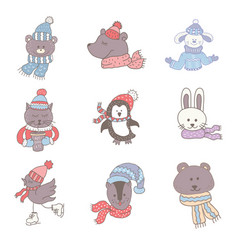 set of cute animals in the winter nursery art vector image