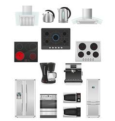 set of kitchen appliances 03 vector image