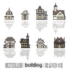 Set of pixel art isometric building vector