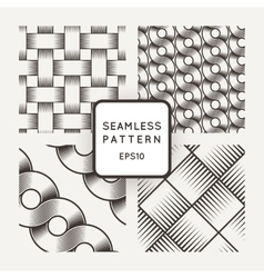 Set seamless patterns with intertwined vector