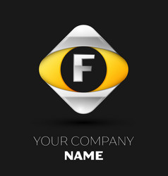 silver letter f logo in the silver-yellow square vector image