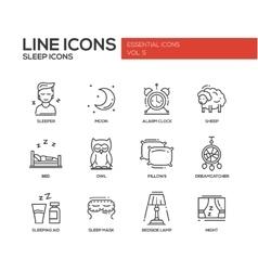 Sleeping - line design icons set vector image