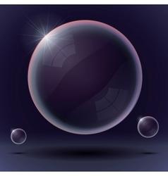 Soap bubbles on a black blue background vector image