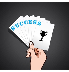 Success playing card in hand vector