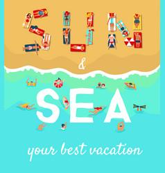 summer beach vacation flat poster vector image