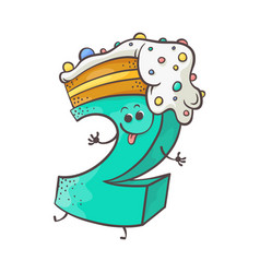 sweet cake number character two vector image