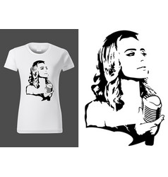 T-shirt design with black sketch with singer vector