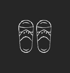 Taiwanese slippers chalk white icon on dark vector