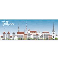 Tallinn Skyline with Gray Buildings vector image
