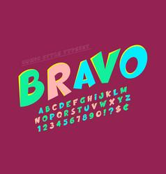 Trendy comical font design colorful alphabet vector
