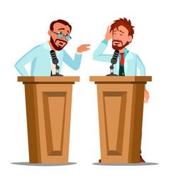 Two talking doctor argue behind tribune vector