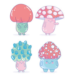 Video game fungus characters cartoon friendly vector
