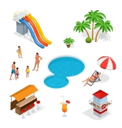 Water amusement park playground with slides and vector