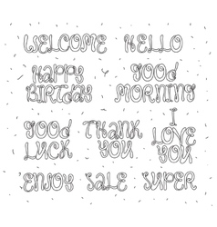 Welcome thank you hello happy birthday enjoy vector