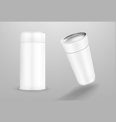 White paper tube cardboard cylinder box vector