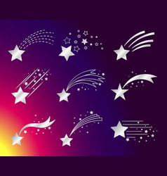 White stars or falling comets icons vector