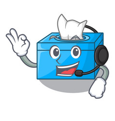 With headphone tissue box isolated on the mascot vector