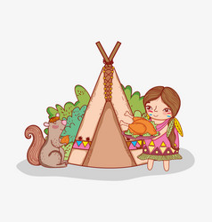 Woman indigenous with turkey food and squirrel vector