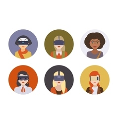 Women in the virtual reality headsets vector image