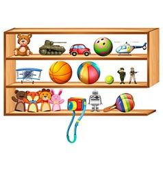 Wooden shelf full of toys vector image