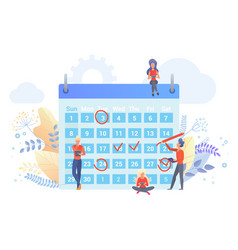 workers planning time with calendar flat vector image
